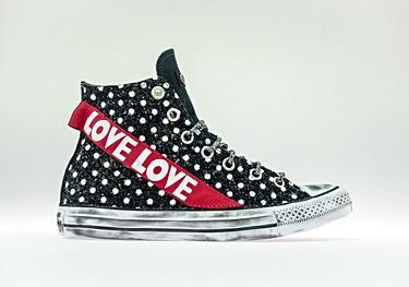 Black-pois glitter red-love