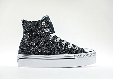 Platform black-glitter