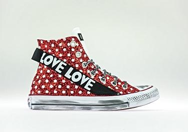 Red-pois glitter black-love