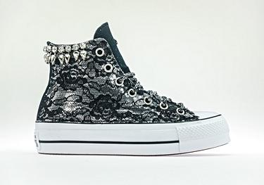 Black lacy white-drop